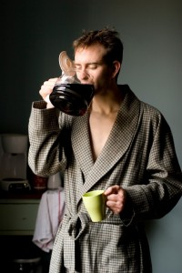 man drinking coffee]